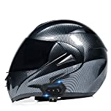 Casco Moto Modulare Bluetooth Casco Motorino Integrali Flip Up Caschi,Casco Moto Full Face per Donna e Uomo con Visiera Antiappannamento,Omologato ECE N,XS=53~54cm
