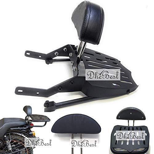 Dhe Best Bike Harley Style Luggage Carrier Backrest with Cushion Support Adjustable Backrest Black Bar Compatible for Royal Enfield All Models