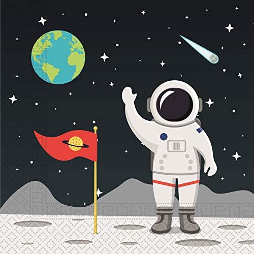 Procos 90297 - Servietten Weltraum, 20 Stück, Größe 33 x 33 cm, Papierservietten mit Motiv, Astronaut, Erdkugel, Weltall, Tischdekoration, Mundtuch