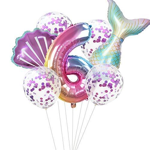 Haosell Globo de sirena grande para 6 años, decoración de cumpleaños infantil, multicolor, 1 globo de sirena XXL + número 6 números + 1 cuenco + 4 globos de confeti