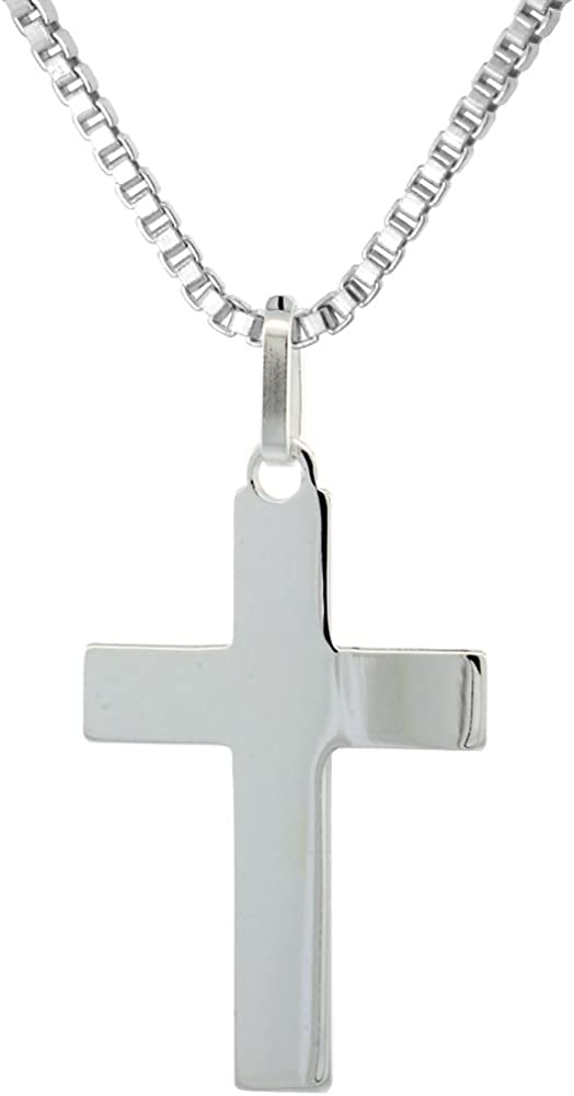 Sterling Silver Plain New Shipping Free Shipping Cross Pendant Necklace 4 Sol high inch 1 free