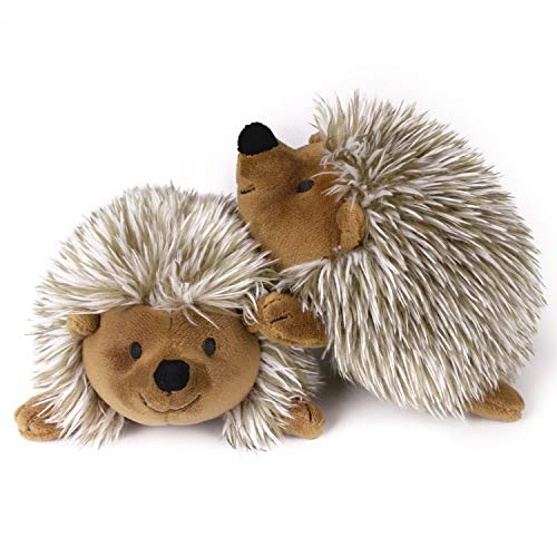 Pawaboo Plush Dog Toy, [2PACK] Non-Toxic Super Soft Faux-Fur Hedgehog Dog Toy Stuffed Biting Training Playing Toys for Dog Puppy, Brown