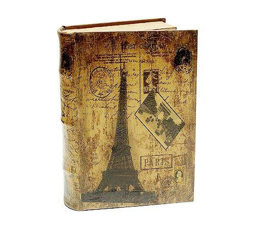 zeitzone Hohles Buch Geheimfach Paris Eiffelturm Nostalgie Buchsafe Antik-Stil 25,5cm