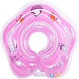 ZGHYBD Inflatable Neck Float Ring, Baby Swimming Pool Float Neck Ring,Baby Swimming Float, Pool Bathtub Toys with Inflator for Kids Toddlers 3-36 Months (Pink)