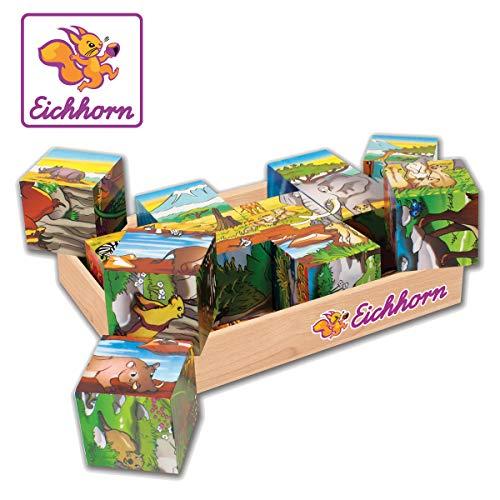 Eichhorn 100005480 - Bilderwürfel, 6 Motive mit 12 Bausteinen, 13-tlg. 16x12cm, FSC 100% Zertifiziertes Birkenholz