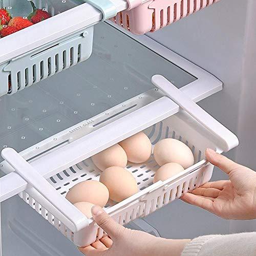 Zwindy 2 Pezzi Scatola frigo Bianca, ripiano Estraibile per Frigorifero, salvaspazio, Contenitore per Uova per Alimenti vegetali