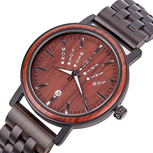 Relojes para hombres Hechos a mano en Sandalia Semanal Calendario Luminoso Relojes de madera Luminoso Movimiento japonés Zebra Wood Watches Relojes para hombres y mujeres Elegante lujo de lujo salud