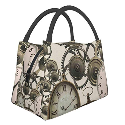 Vintage Steampunk Orologi Jaws Of Ocean Shark Lunch Bag Insulated Lunch Tote Cooler Bag Lunch Box per le donne Uomini Scuola Lavoro Pic