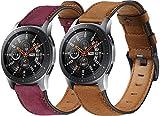 compatibile con Huawei Watch GT/GT 2e / GT 2 (46mm) Cinturino per Orologio, Simpleas Vera Pelle per Orologi (22mm, 2PCS B)