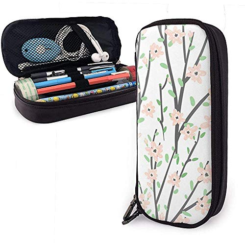 Astucci Floral Branches Cute Pen Pencil Case Leather Pouch Bag Pencil Case with Double Zipper Holder Box for Girls Boys Adults