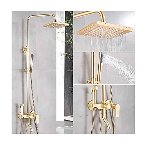 Shower System with Hot and Cold Water Brushed Gold Shower Faucet Set Multifunction Single Handle Shower Combo Set with Shower Head, Handheld Shower, Bidet Sprayer, Tub Spout,Shower Faucet Type A