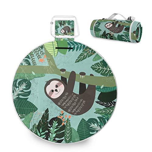 Manta grande para picnic al aire libre, diseño tropical de perezoso picnic para la familia, camping, playa, parque, mango redondo de 59 pulgadas