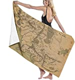 Toalla de Playa El Señor de los Anillos (Mapa) Toalla Impresa Juego de baño Toalla de baño Accesorios Impresos Bonitos y exquisitos Toalla de Piscina Toalla de Viaje y baño CU