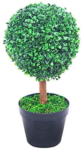 Decovego Buchsbaum Kugel Künstliche Pflanze Buxus Deko im Blumentopf Echtholz 35cm