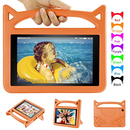 Fire HD 10 Tablet Kids Case - Auorld Light Weight Shock Proof Handle Friendly Stand Kid-Proof Case for All New 10.1 inch Tablet (2019 & 2015 & 2017 Released) - Orange