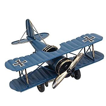 Vintage Retro Iron Aircraft Handicraft - Metal Biplane Plane Aircraft Models -The Best Choice for Photo Props Home Decor/Ornament/Souvenir Study Room Desktop Decoration  Blue