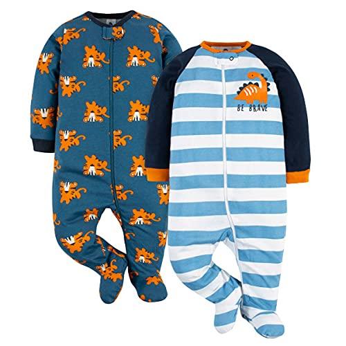 Gerber 2-Pack Baby Boys Sleep 'n Plays (6-9 Months, Dinos & Tigers)