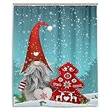 Lovely Sprite Weihnachten Wichtel Schneemann Schnee Rentier Duschvorhang Polyester Wasserdicht Merry Christmas Tree Red Bells Schneeflocke Badezimmer Duschvorhang Set mit Haken 60 W x 72 H IN