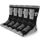 YUEVO SPORTS 5 Pares Calcetines de Deporte para Hombre Transpirables Algodón Calcetines de Senderismo Trabajo Caminar Trekking Calcetines Negro L(38-43)
