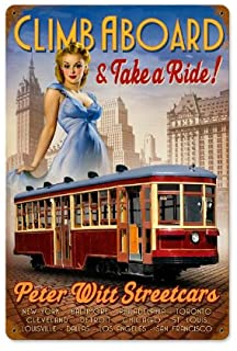 Old Time Signs Street Car Pinup Metal Sign Wall Decor 18 x 12