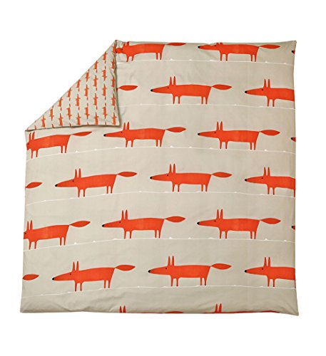 Scion living Mr Fox Housse de Couette, Coton, Mandarine, 140x200 cm