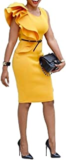 FSSE Women's Sleeveless Bodycon Ruffle Casual OL Wear to Work Midi Pencil Dress
