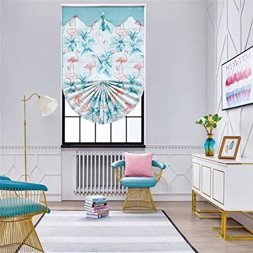 Yumo Verdunkelungsrollo für Jalousien, Jacquard, Flamingo, bemalte Rollos für Fensterdekoration, blau, W60CM