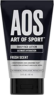 Art of Sport Daily Face Lotion, Ultimate Hydration for Dry Skin, Face Moisturizer for Men with Green Tea Extract and Aloe Vera, Non Greasy and Lightweight, Paraben Free, 3.4 fl oz