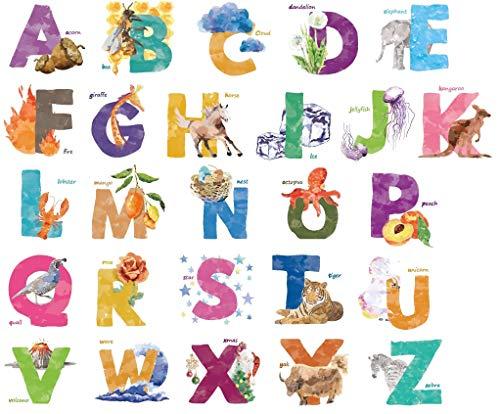 Kath & Cath Stickers muraux amovibles pour chambre d'enfant Motif animaux de l'alphabet ABC