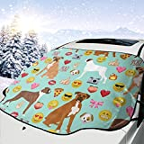 Pillow Bags Boxer Emoji Cute Funny Dog Breed Fabric Mint Car Front Windshield Cover Foldable Sunshade Fits Most Cars, Trucks, SUV's