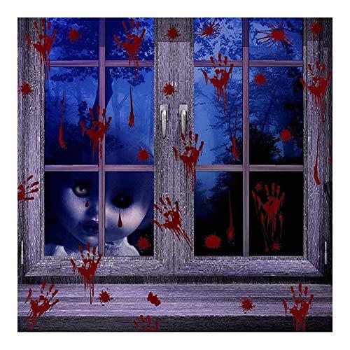 Víspera de Todos los Santos Manos ensangrentadas Pegatinas for ventanas Accesorios de la casa embrujada Festival de fantasmas de miedo Disposición de la escena Pegatinas de suelo ( Color : 8PCS+2PCS )