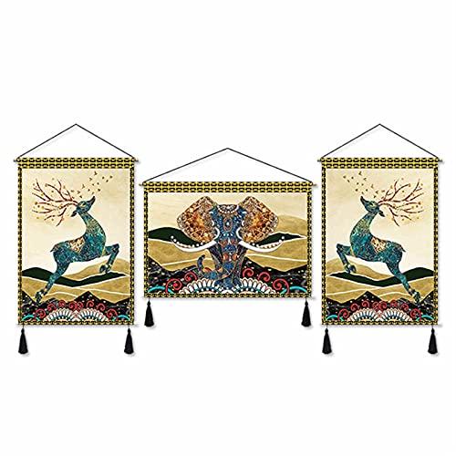 Elephant & Deer Art Tapestry Cloth Painting Sofa Achtergrond Muur Nachtkastje Decoratieve Schilderij Opknoping Doek Drie Schilderijen Opknoping