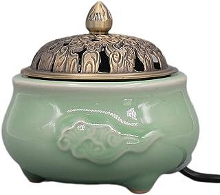 Aromatherapy Furnace Electric Incense Burner,Heater Porcelain Ceramic Censer Essential Oil Burner Aroma Diffuser for Home ...