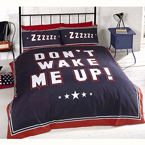 Don't Wake Me Up UK Double/ US Full Duvet Cover & Pillowcase Set