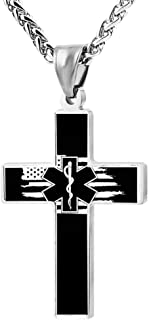 Cool Police & Firefighter & EMT Flag Cross Necklace Zinc Alloy Pendant Creative Personalized Accessories Prayer Christian 24 inch