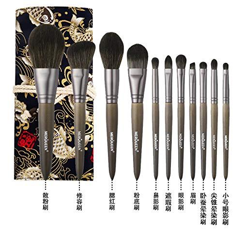 Set De Pinceaux De Maquillage Foundation Foundation Fard À Paupières Brush Tool Wool, 11 Brushes C