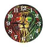 TINGH Rock Fashionm - Reloj de pared con diseño de león, resistente al agua, reloj de pared redondo, ligero con números romanos manos para sala de estar, aula, patio, dormitorio