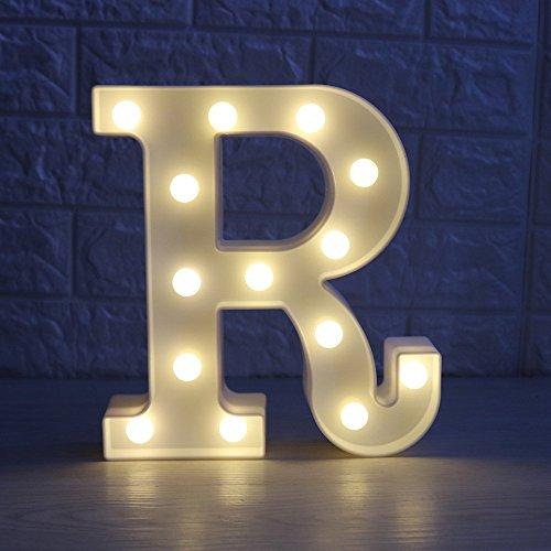 Luces Decorativas LED, AntEuro Diseño de Alfabeto de Madera en Color Blanco Letras Luces - Letra R