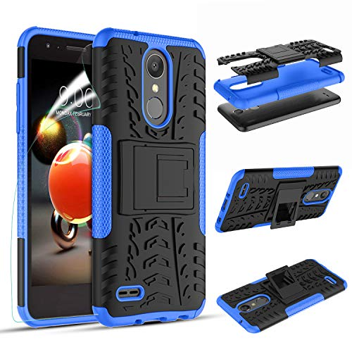 LG Aristo 2/LG Phoenix 4/LG Rebel 4 LTE/K8+ Plus/Tribute Dynasty/Zone 4/Risio 3/Phoenix 3/Fortune 2/Rebel 3/Rebel 2/K8 2018 Phone Case, OEAGO Tough Rugged Dual Layer Case with Kickstand (Blue)