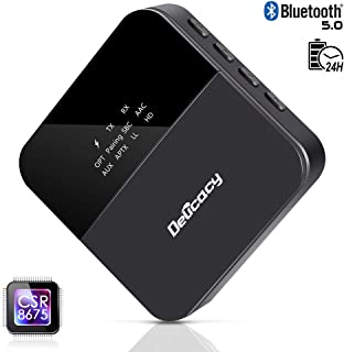Delicacy Bluetooth 5.0 Transmitter Receiver, Upgraded 2-in-1 Wireless HD Low Latency Bluetooth Audio 3.5mm & Optical Adapter for TV Laptop Stereo Headphone Speaker