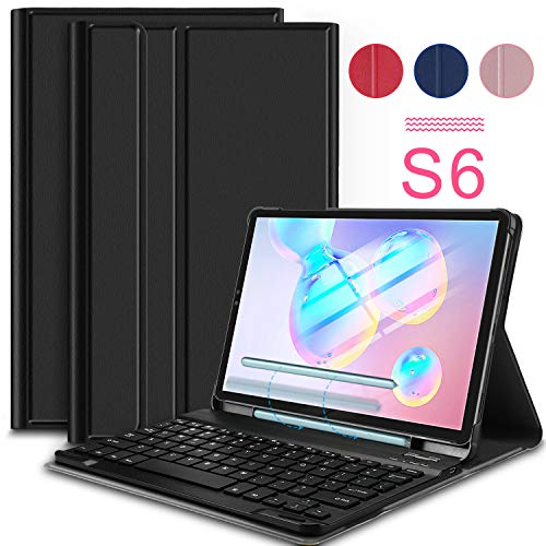 IVSO Keyboard Case for Samsung Galaxy Tab S6 10.5 Inch 2019 SM-T860/SM-T865,Premium PU Leather Stand Cover with Removable Wireless Keyboard(Black)