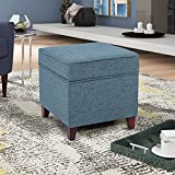 Adeco 17'' Square Ottoman with Storage- Small Storage Ottoman Foot Rest with Hinged Lid- Blue Faux Linen Fabric Upholstered Footstool with Sturdy Wood Legs