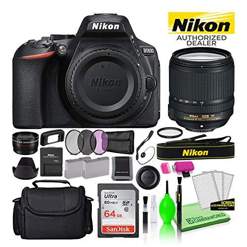 Nikon D5600 24.2MP DSLR Digital Camera with AF-S DX 18-140mm Lens (1577) USA Model Deluxe Bundle -Includes- Sandisk 64GB SD Card + Large Camera Bag + Filter Kit + Spare Battery + Telephoto Lens + More
