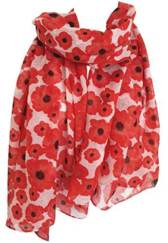 Bufanda de amapolas rojas estampadas grandes flores suaves flores para mujer Blanco Rojo y blanco. L