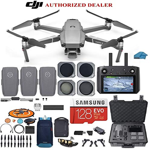 DJI Mavic 2 PRO Drone Quadcopter Fly More Combo with Hasselblad Camera, with Smart Controller, 3 Batteries, Hard Case, ND, CPL Lens Filters, 128GB SD Card Bundle Kit with Must Have Accessories