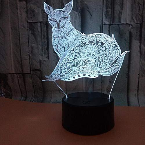 HHR 3D nachtlampje, vos kleurrijke touch-afstandsbediening acryl led zichtbaar licht 3D illusie nachtlampje atmosfeer, 3D kleine tafellamp baby slaapkamer decoratie geschenk Touch+remote