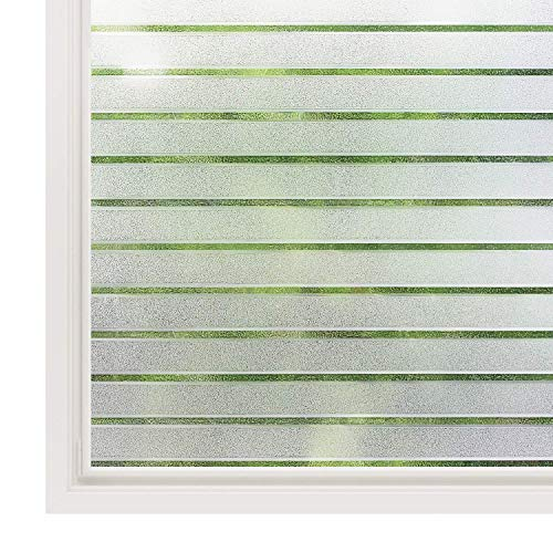 rabbitgoo Privacy Window Film Static Cling Frosted Window Film Opaque Glass Film No Glue Window Sticker UV Protection White Stripe for Office Living Room or Kitchen 44.5X150CM