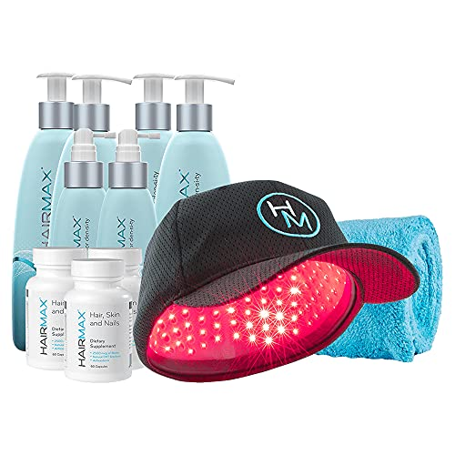 HairMax Bundled Treatment for Hair Growth includes PowerFlex 272 Laser Cap (FDA Cleared) for Full Scalp Hair Loss with a 3-month treatment of Density 3pc BioActive Hair Therapy and Dietary Supplements