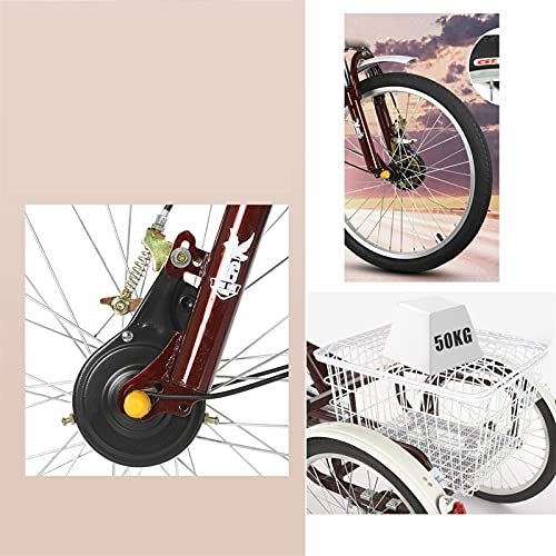zyy Adult Trike 1 Speed 3-Wheel Three Wheel Cruiser Bike 20 Inch Foldable Tricycle ith Basket for Adults Adjustable Seat and Handlebar for Outdoor Sports (Color : Red)