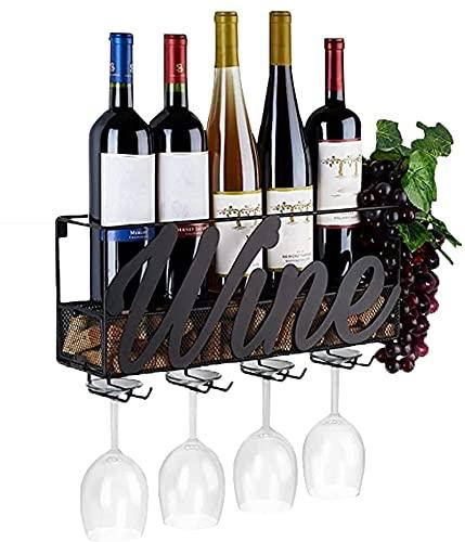 Estante de vino Metal Montado en la pared Estante de vino Estante de Champagne Freestanding 4 Titulares de copa de vino incorporados con bandeja extra de corcho 17.71x5.12x8.66 pulgadas Tienda de bast